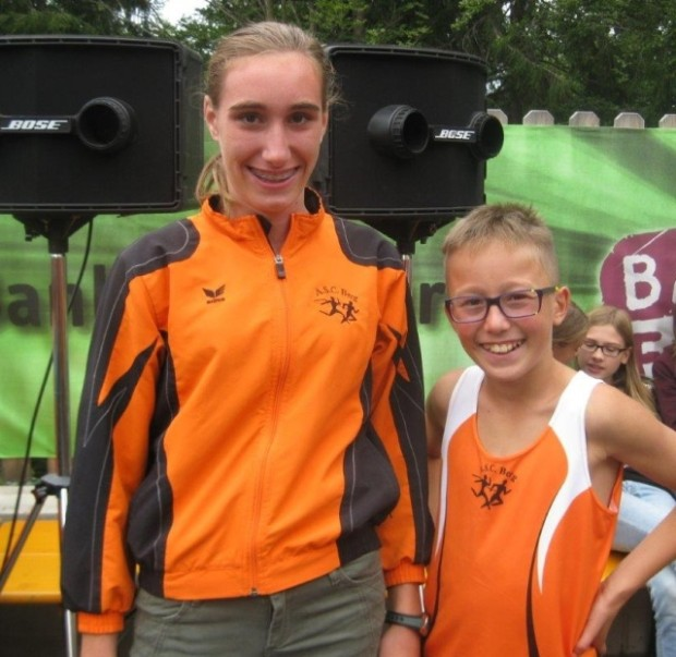 Zwei strahlende Sieger: Nadja Auer und Leon Pichler