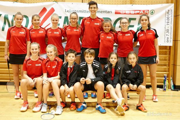 Gruppenbild des ASC Berg Badminton in Bozen